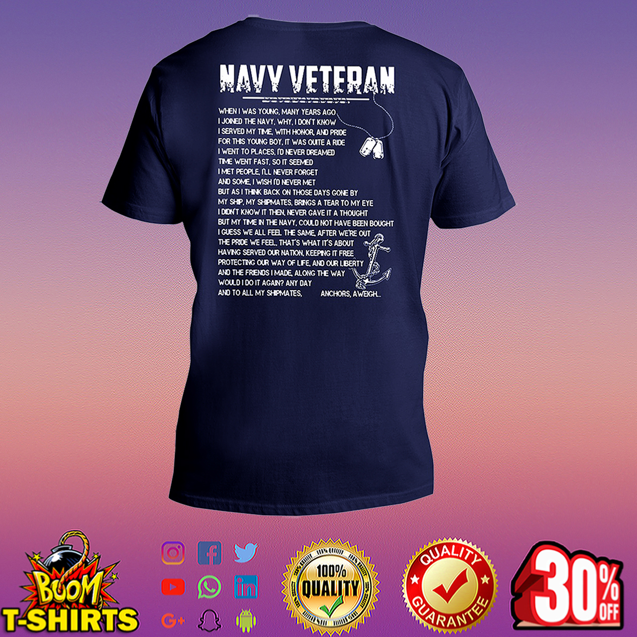 Navy veteran when I was young many years ago I joined the navy v-neck