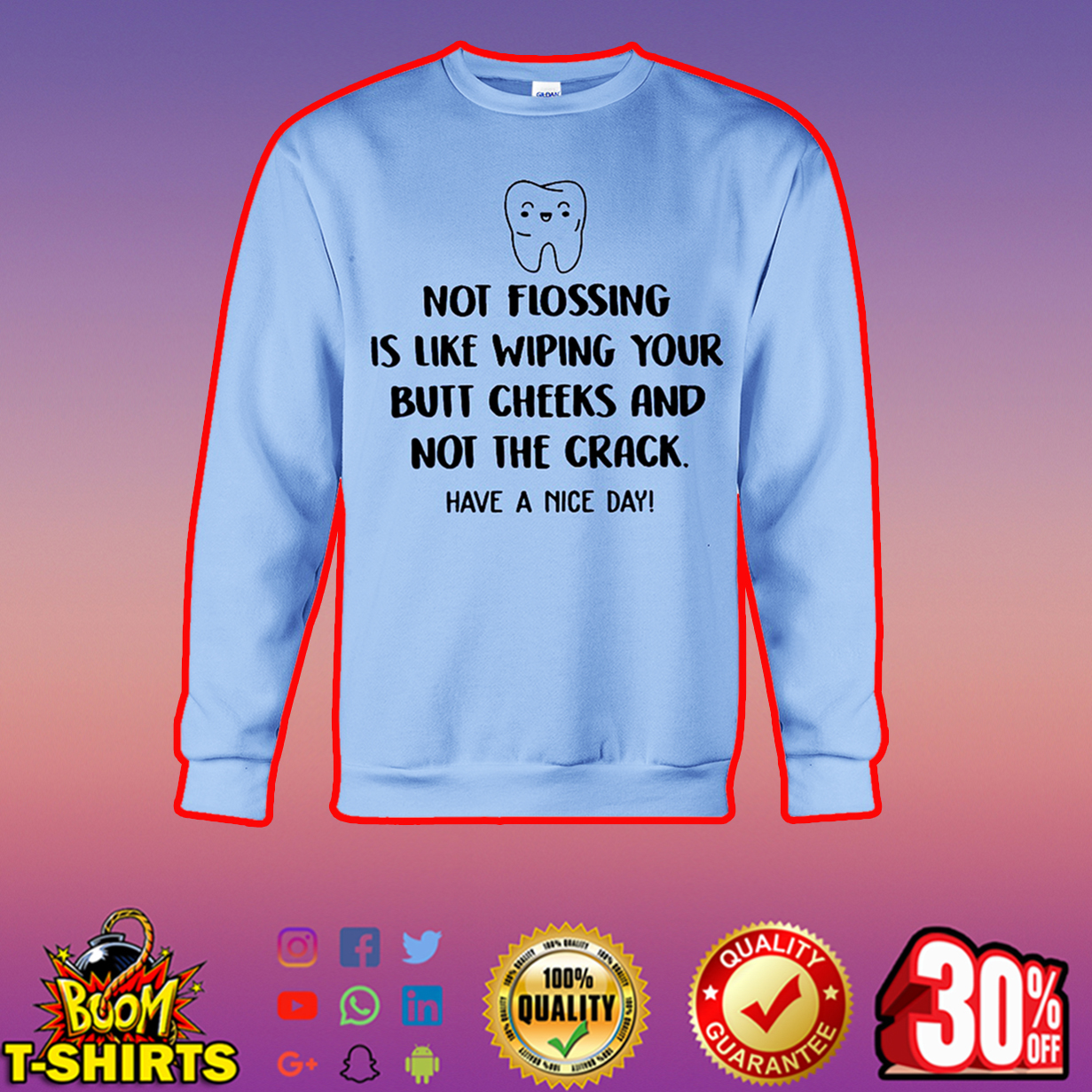 Not flossing is like wiping your butt cheeks and not the crack have a nice day sweatshirt