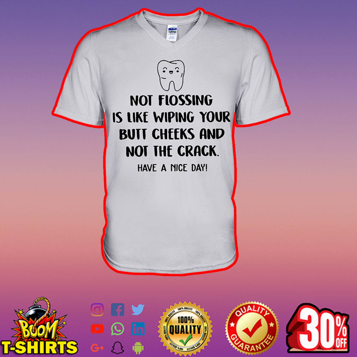 Not flossing is like wiping your butt cheeks and not the crack have a nice day v-neck