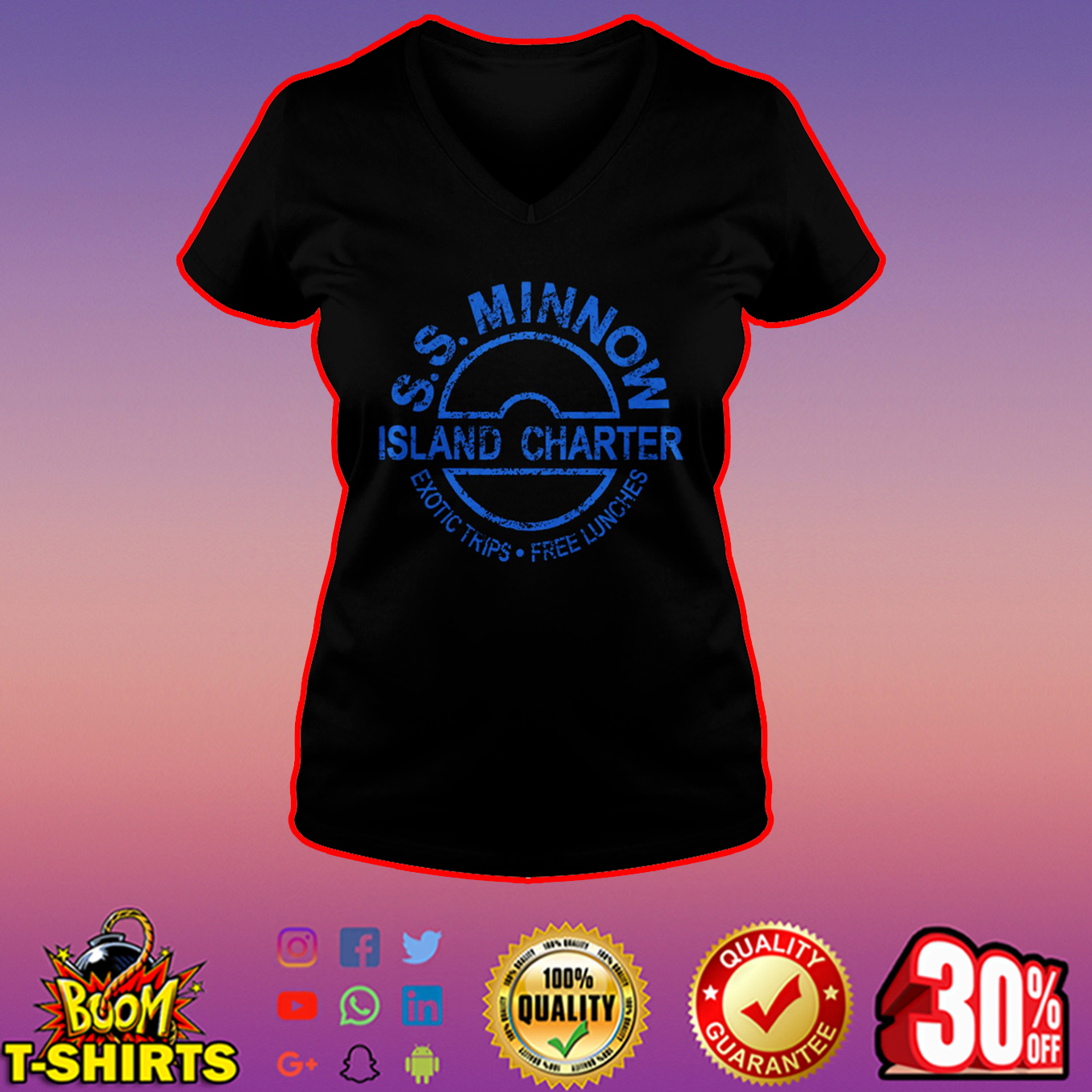 SS Minnow island charter exotic trips free lunches v-neck