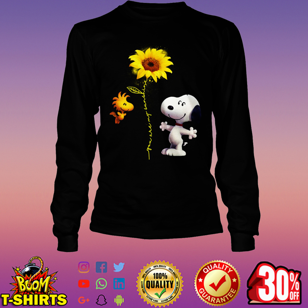 Snoopy and Woodstock you are my sunshine sunflower long sleeve tee