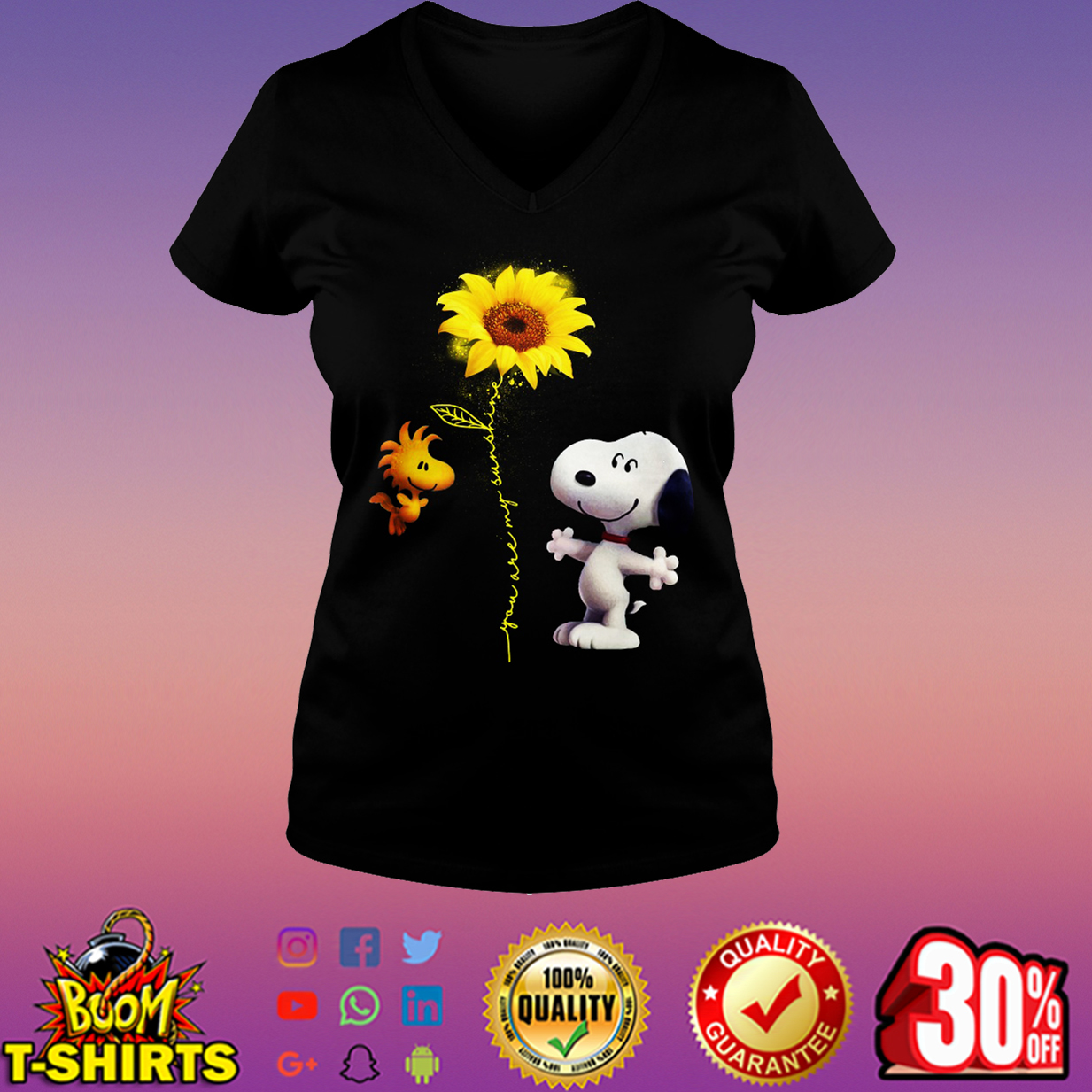 Snoopy and Woodstock you are my sunshine sunflower v-neck