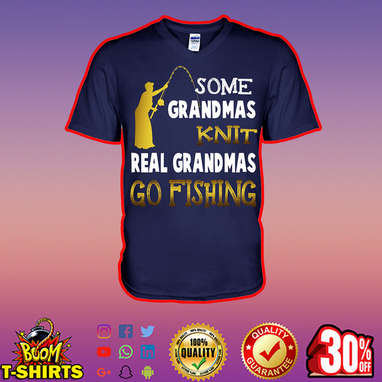 Some grandmas knit real grandmas go fishing v-neck