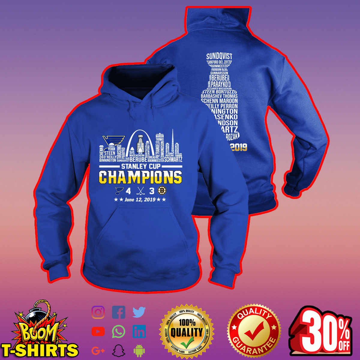 St. Louis Blues 2019 Stanley Cup Champions Team Names lady hoodie