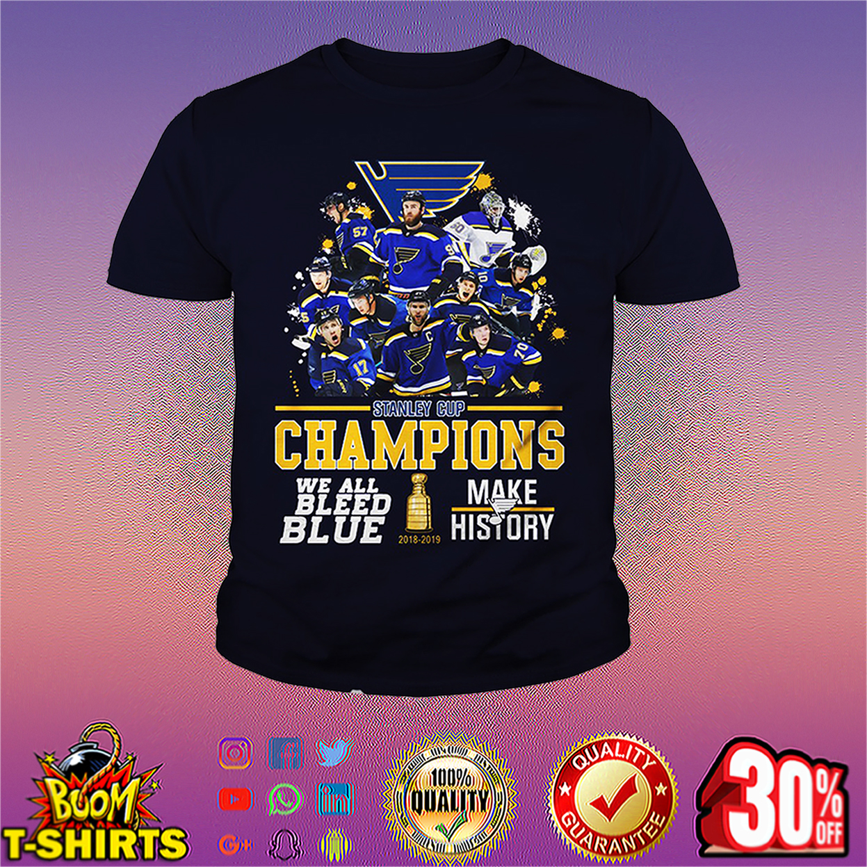 St. Louis Blues 2019 Stanley Cup Champions We Bleed Blue Make History youth tee