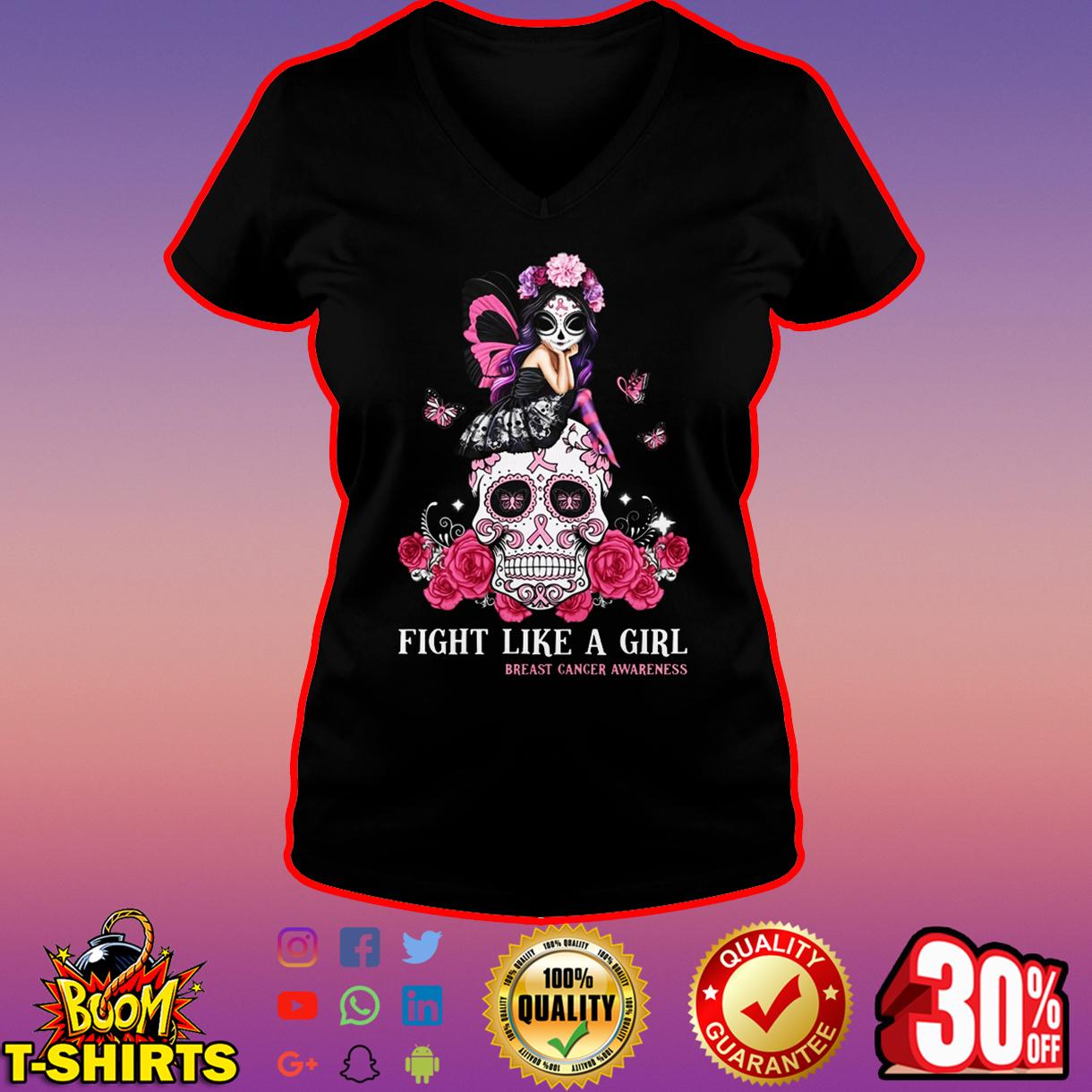 Sugar Skull Fairy fight like a girl breast cancer awareness v-neck