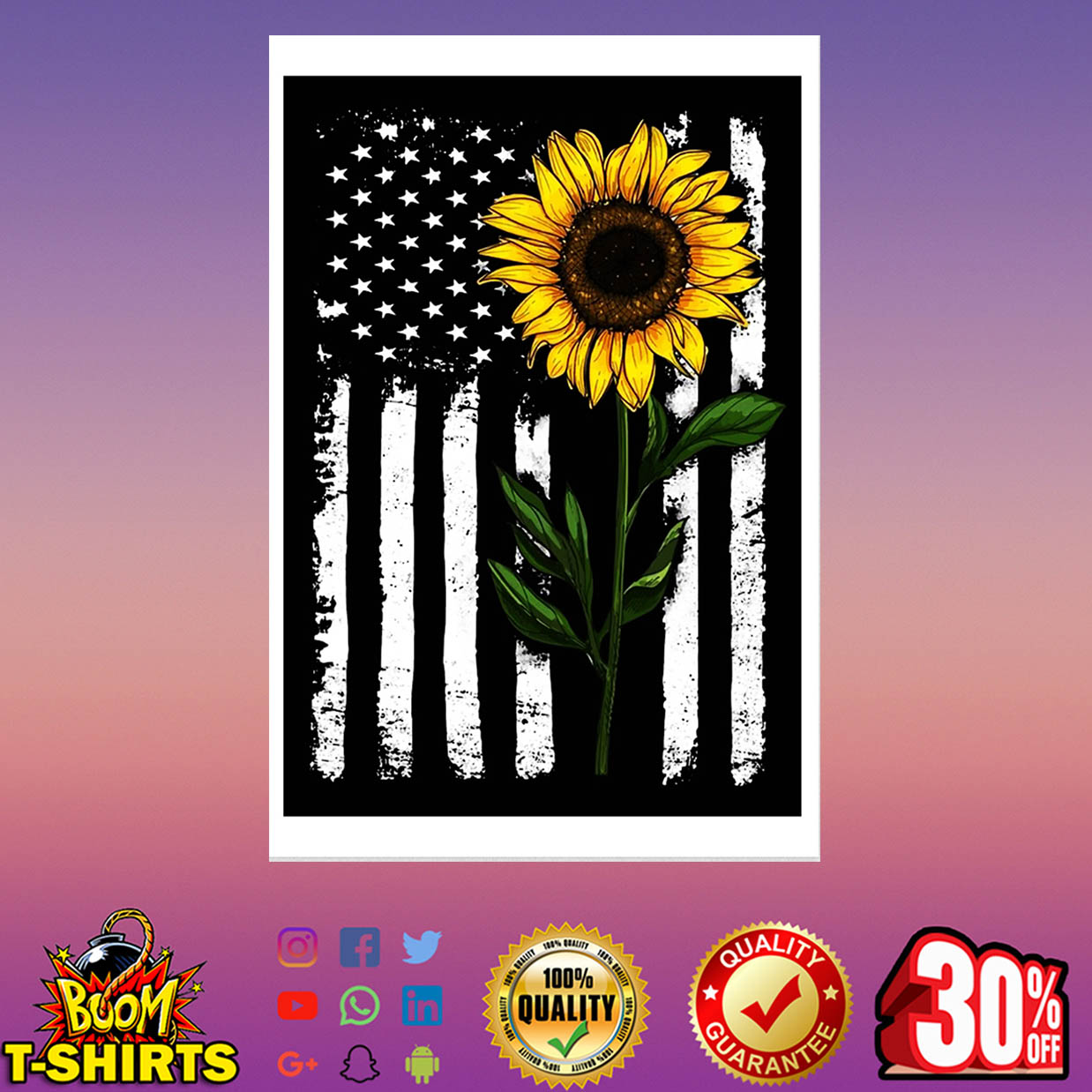Sunflower American Flag poster