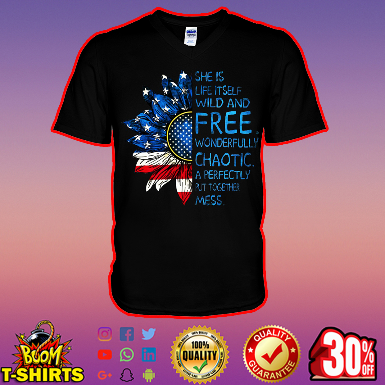 Sunflower American flag She is life itself wild and free v-neck