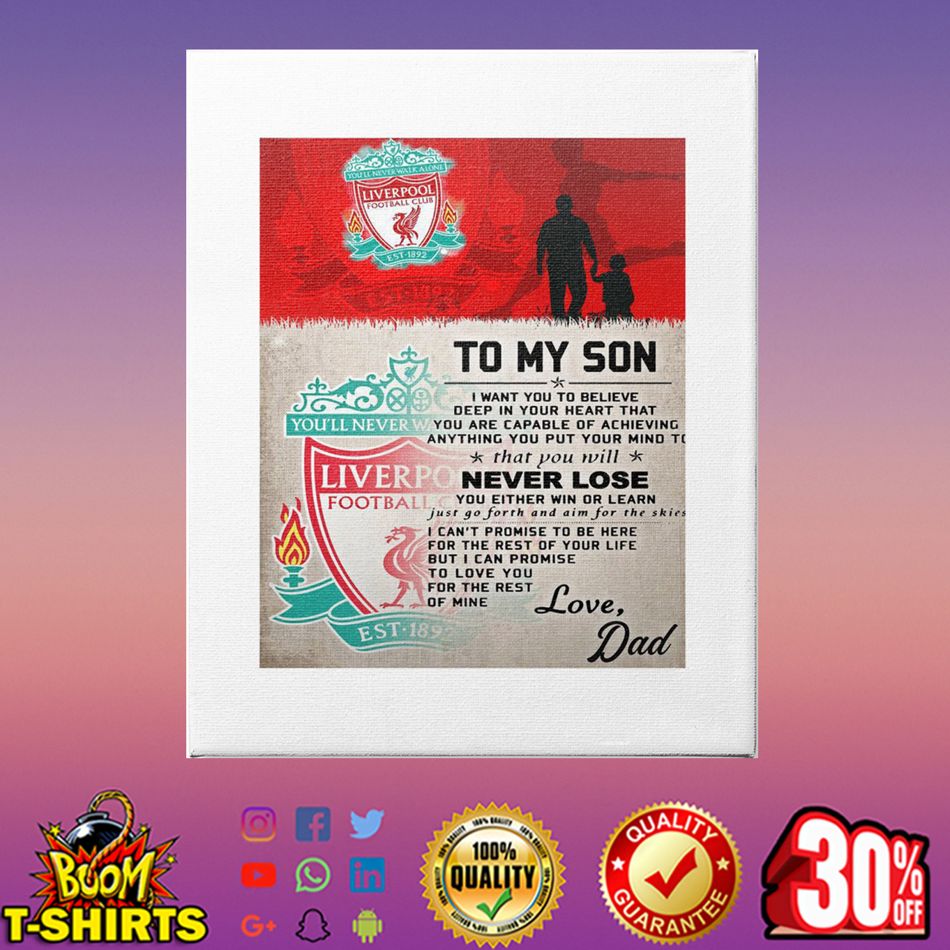 To my son love Dad Liverpool canvas