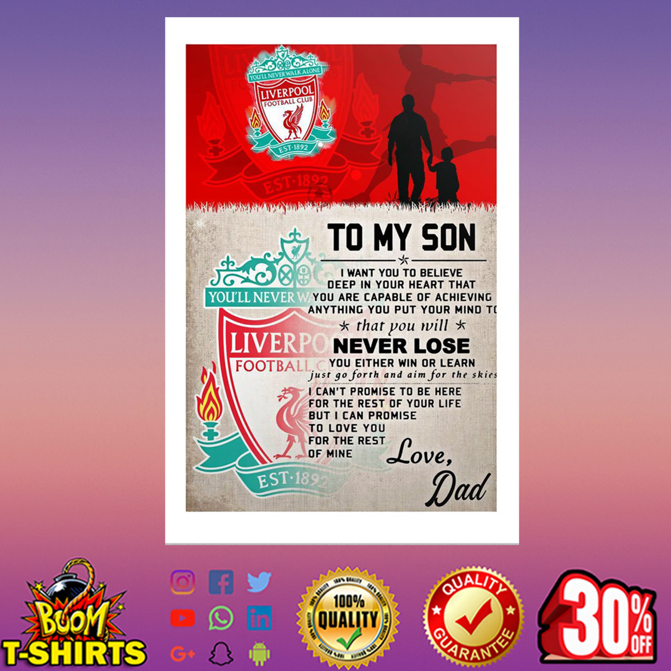 To my son love Dad Liverpool poster