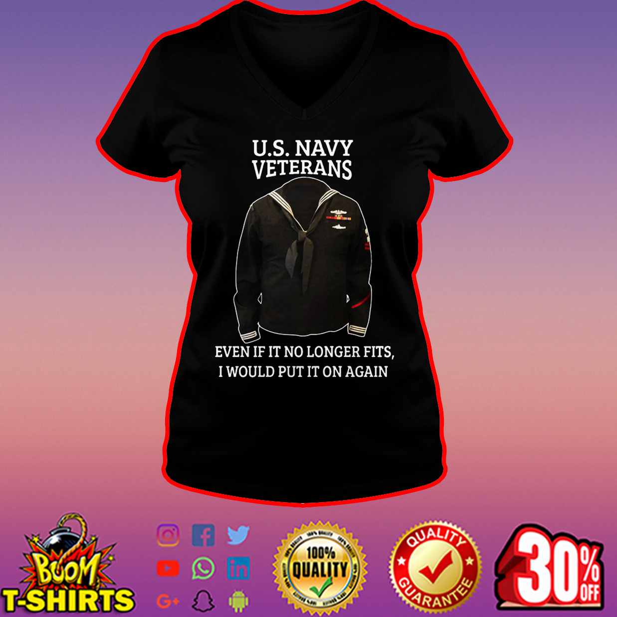 U.S. Navy Veterans even if it no longer fits I would put it on again v-neck