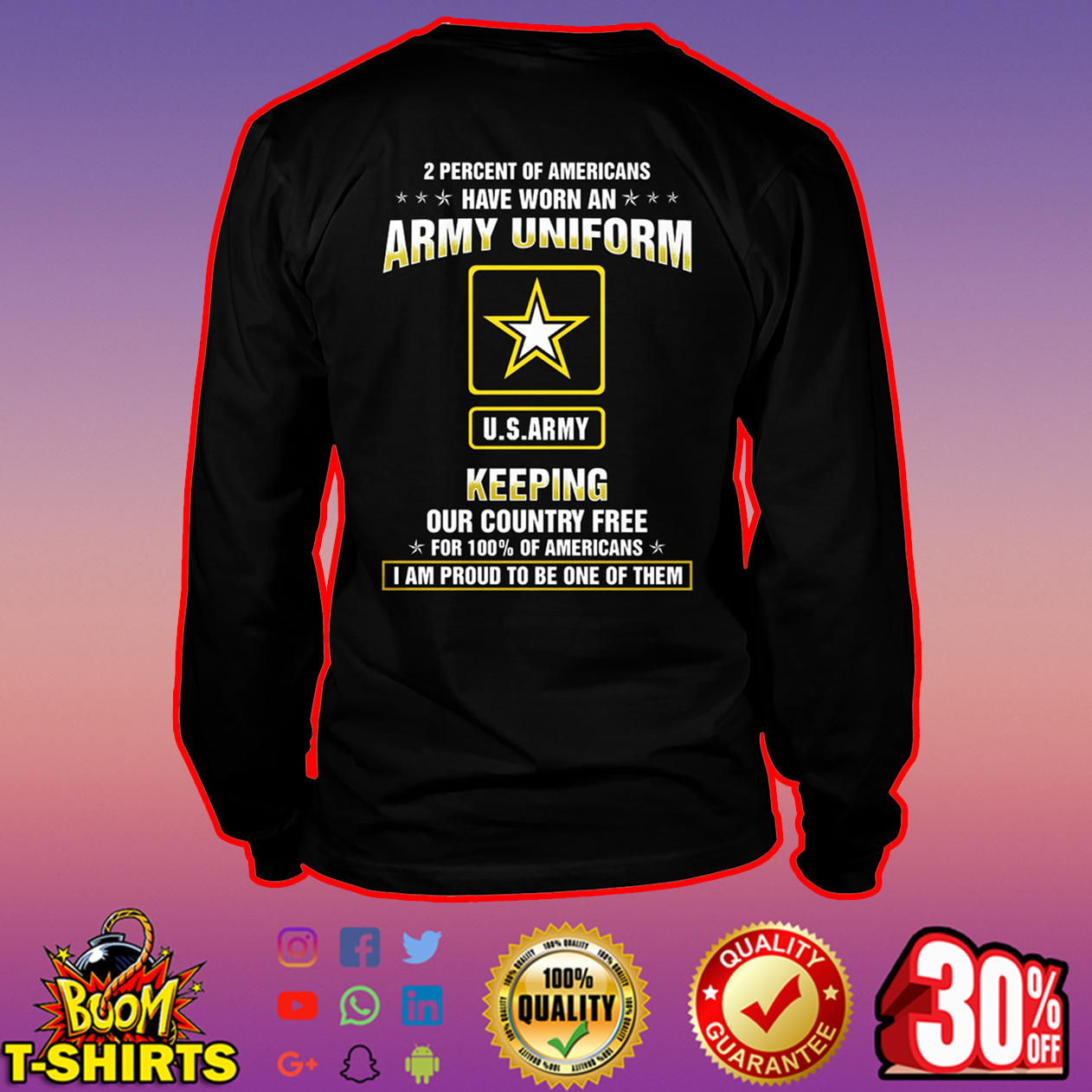 US Army 2 Percent of Americans have worn an Army uniform long sleeve tee