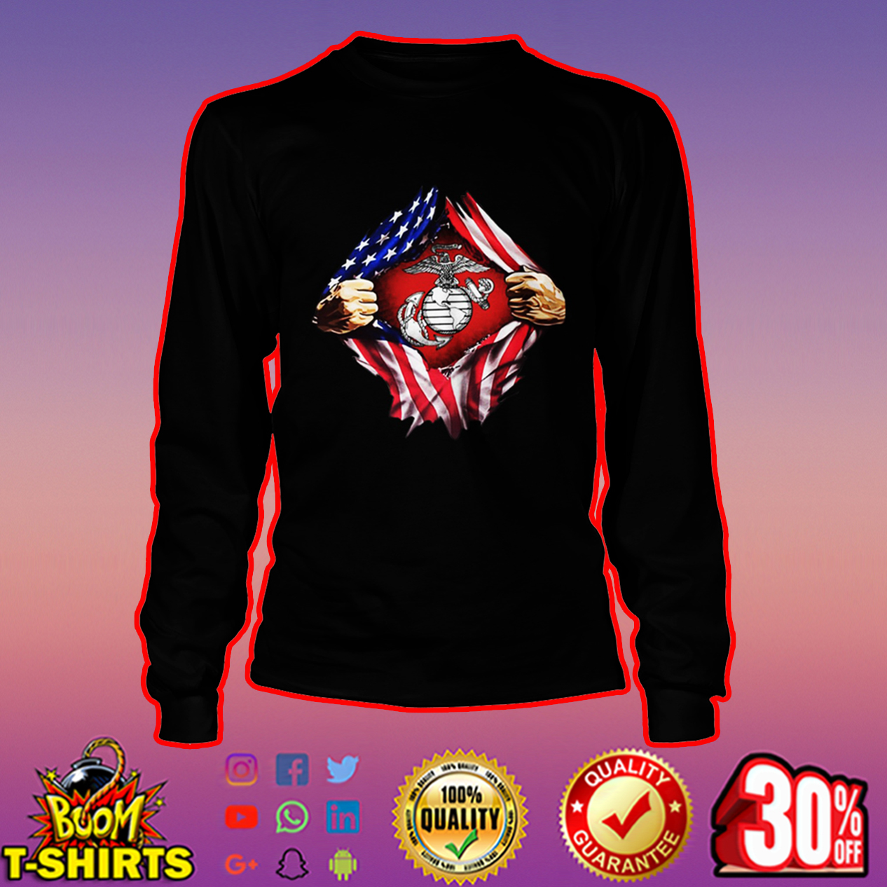 US Marines inside me long sleeve tee