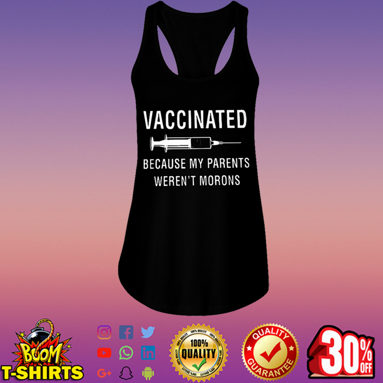 Vaccinated because my parents weren't morons flowy tank