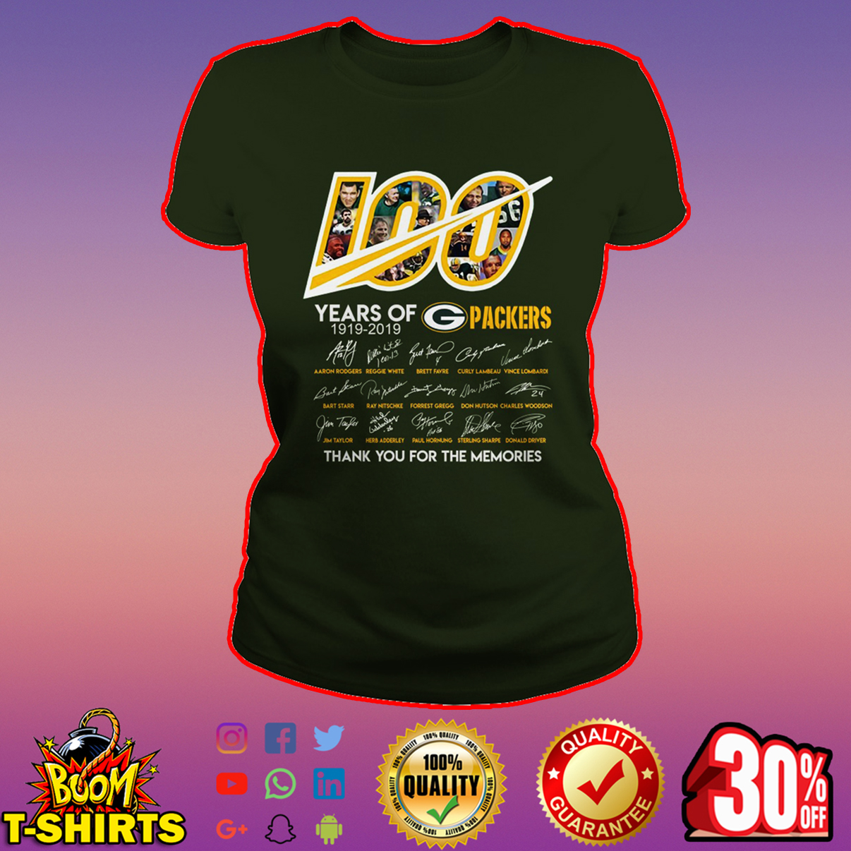 100 year of Packers thank you for memories ladies tee