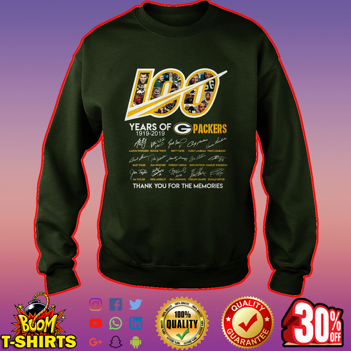100 year of Packers thank you for memories sweatshirt
