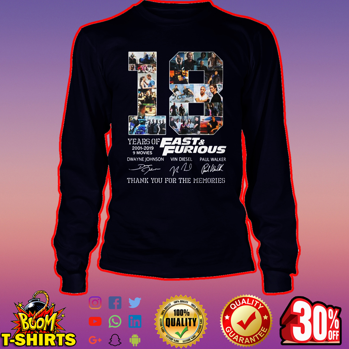 18 years of Fast and Furious thank you for the memories long sleeve tee