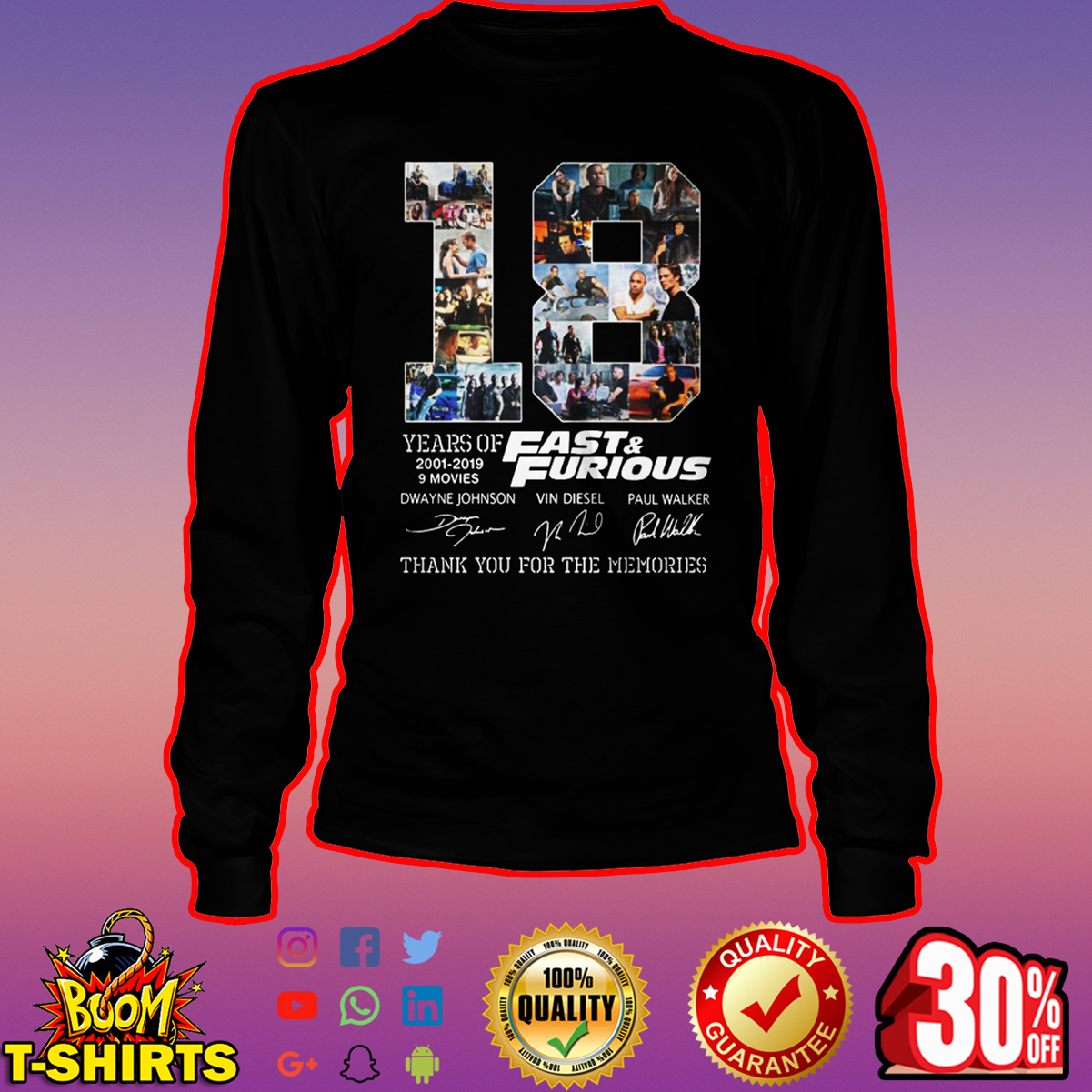 18 years of Fast and Furious thank you for the memories signature long sleeve tee