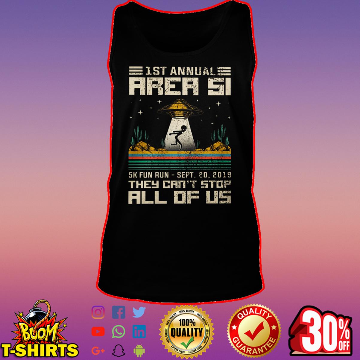 1st Annual Area 51 5k fun run sept 20 2019 tank top