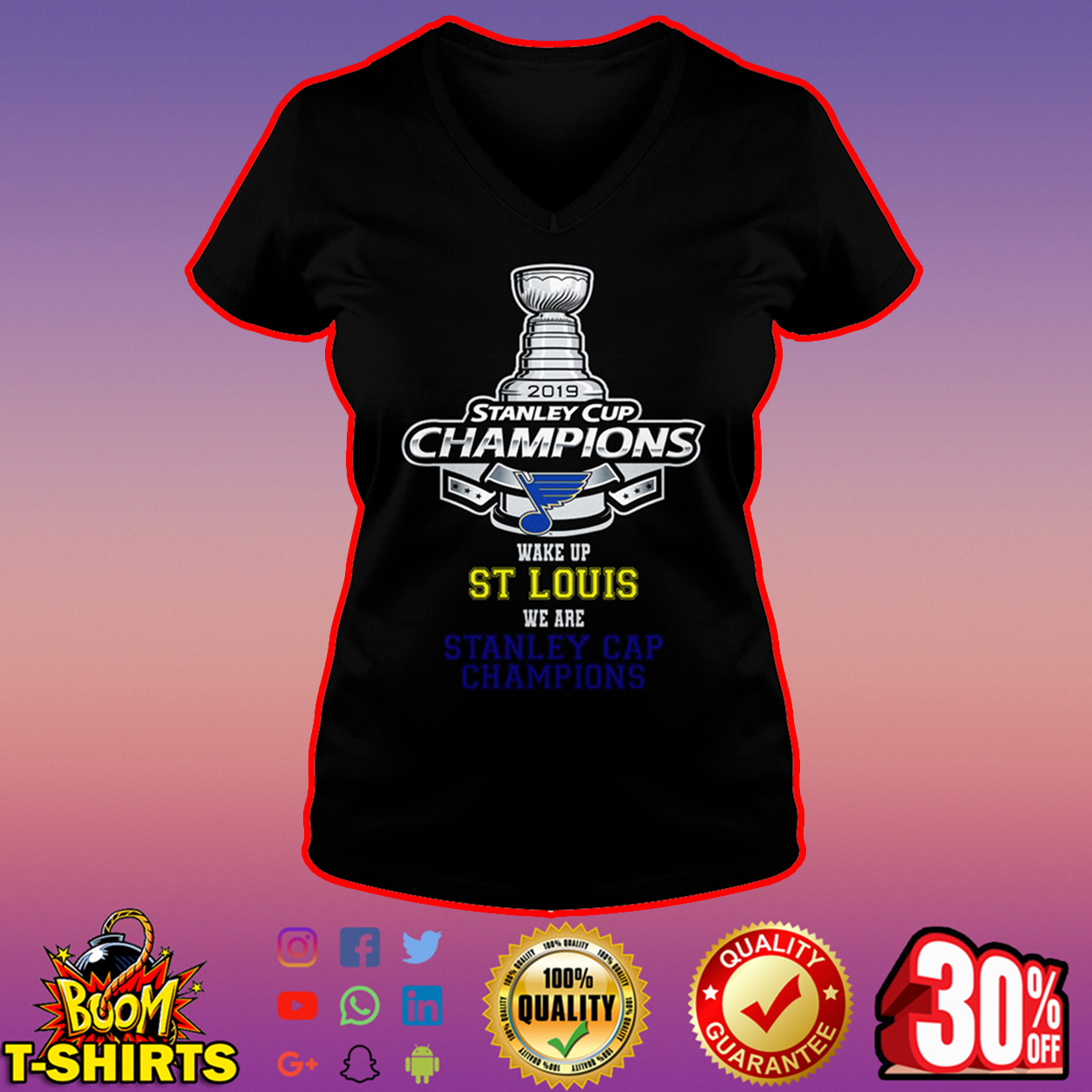 2019 Stanley Cup Champions wake up St Louis we are Stanley Cap Champions v-neck