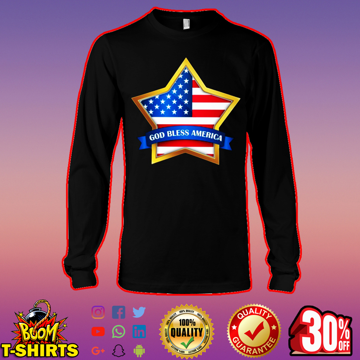 American Flag Star God bless America long sleeve tee