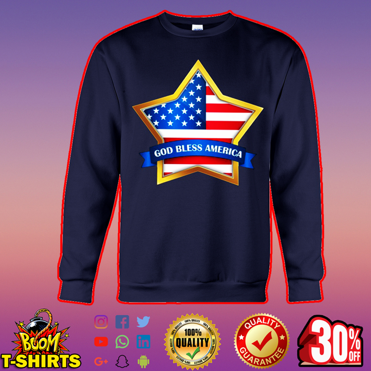 American Flag Star God bless America sweatshirt