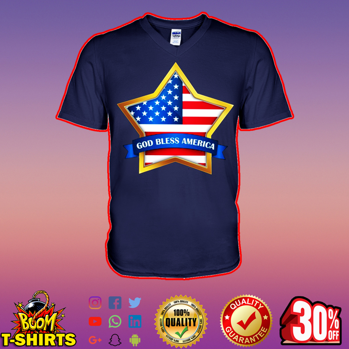 American Flag Star God bless America v-neck