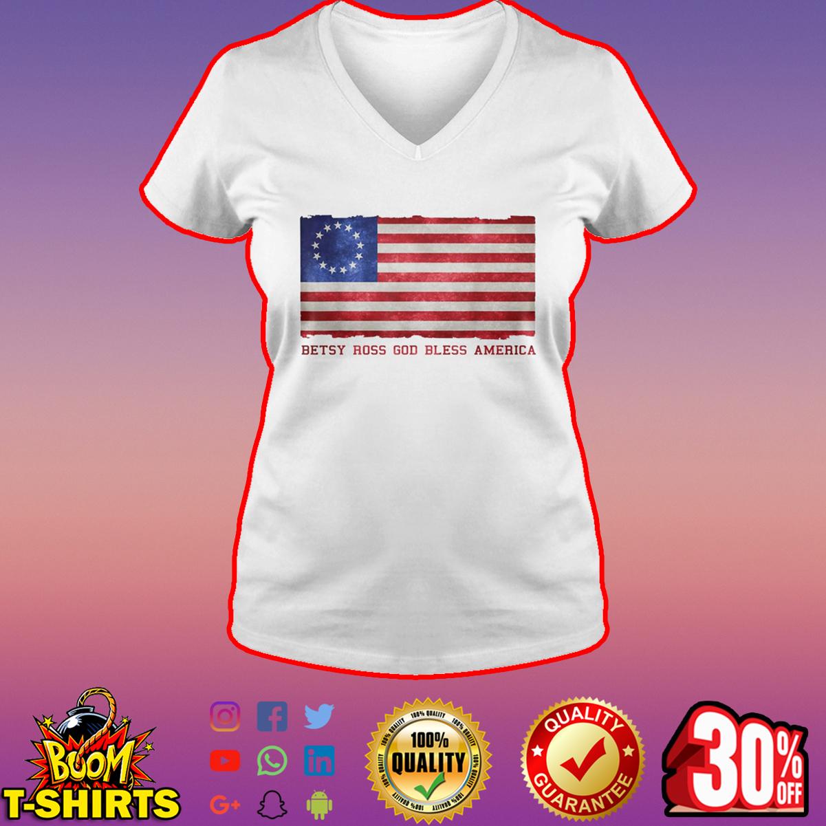 Betsy Ross God bless America v-neck