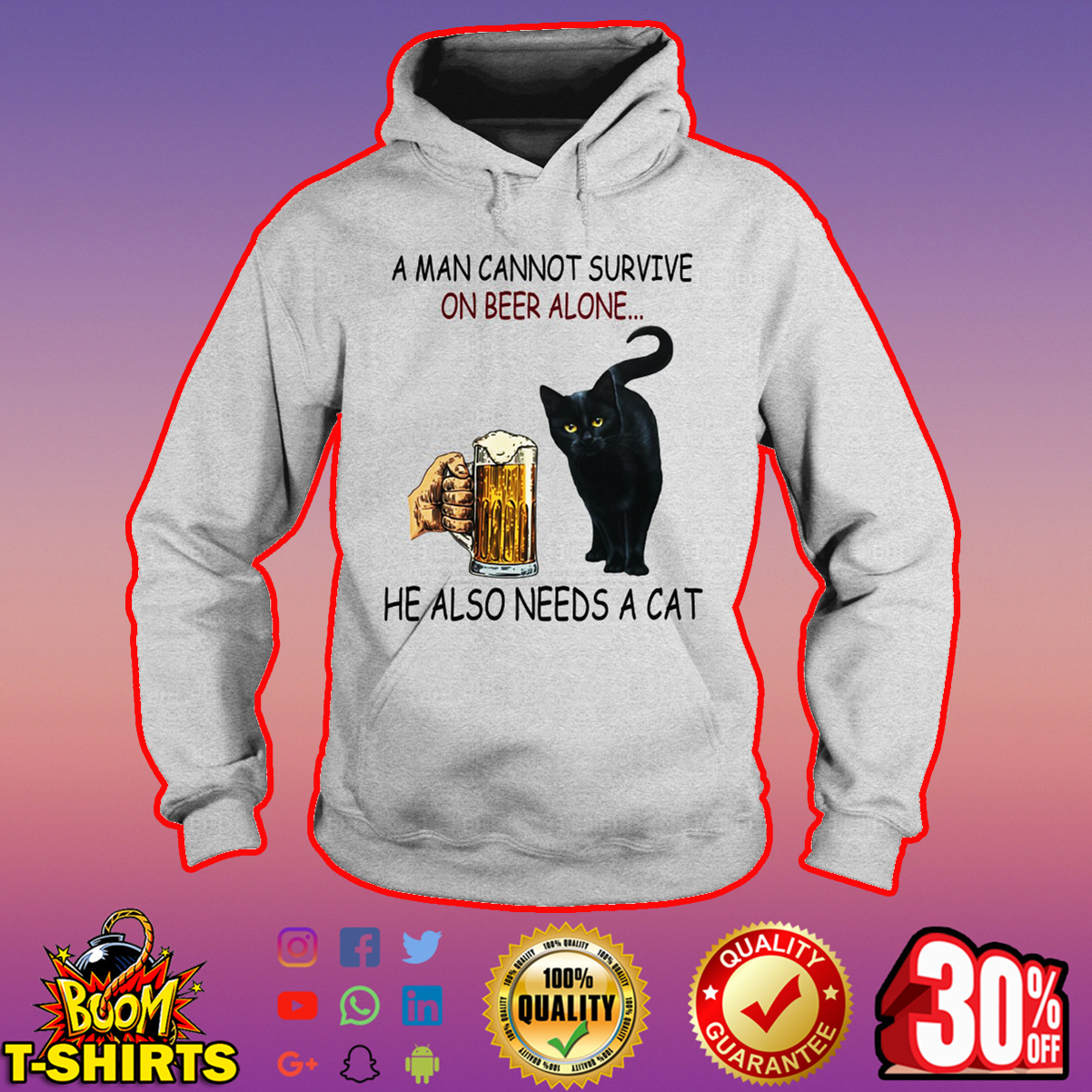 Black cat A man cannot survive on beer alone he also needs a cat hoodie