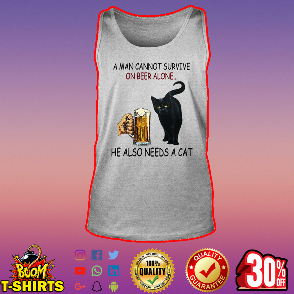 Black cat A man cannot survive on beer alone he also needs a cat tank top