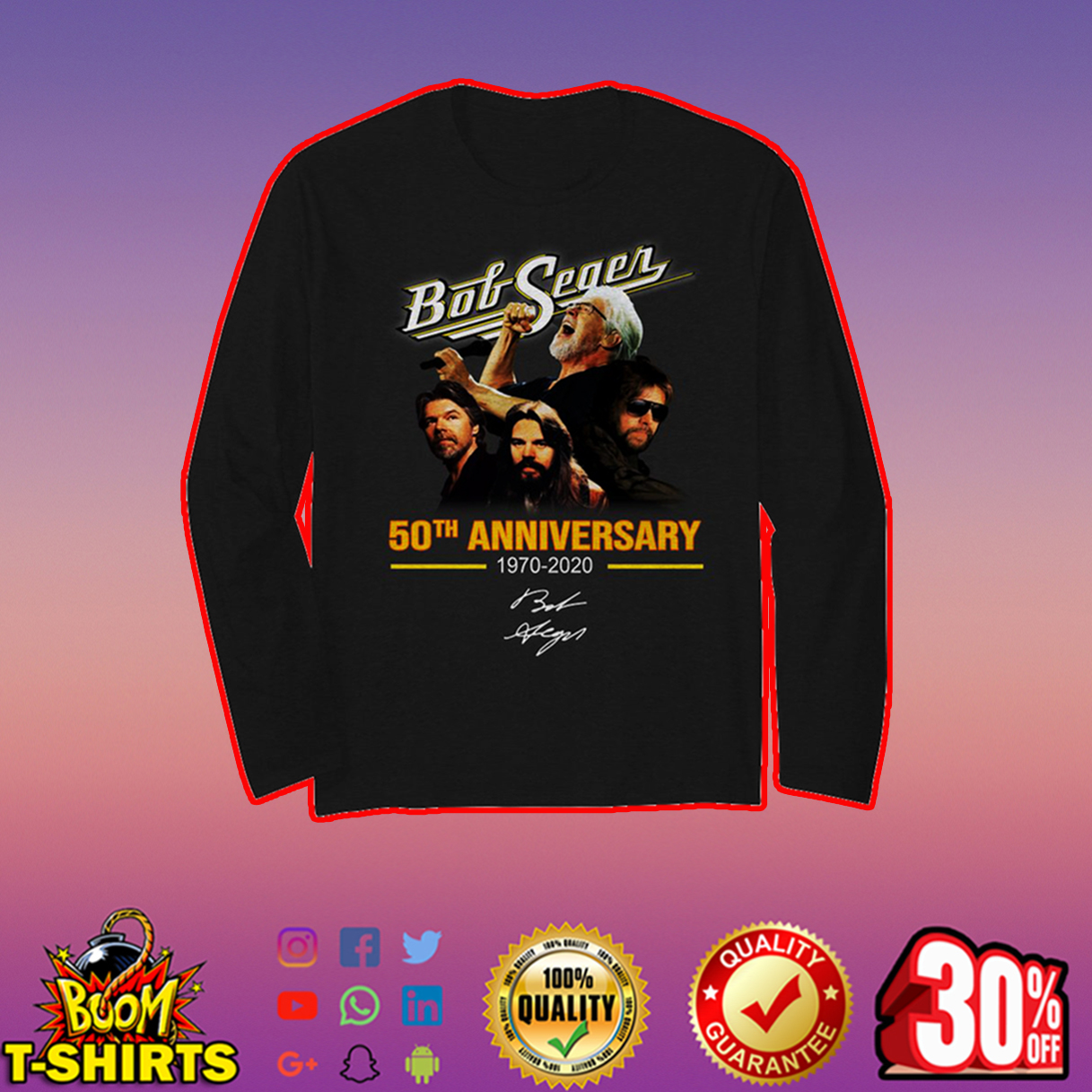 Bob Seger 50th anniversary signature long sleeve t-shirt