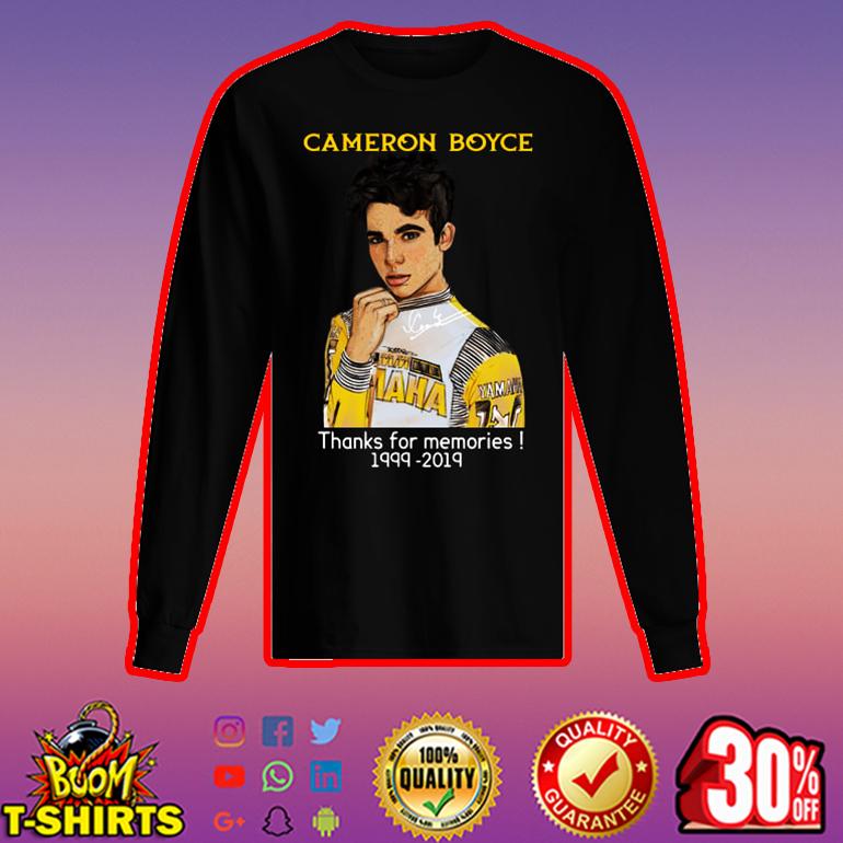 Cameron Boyce thanks for memories 1999 2019 long sleeved t-shirt