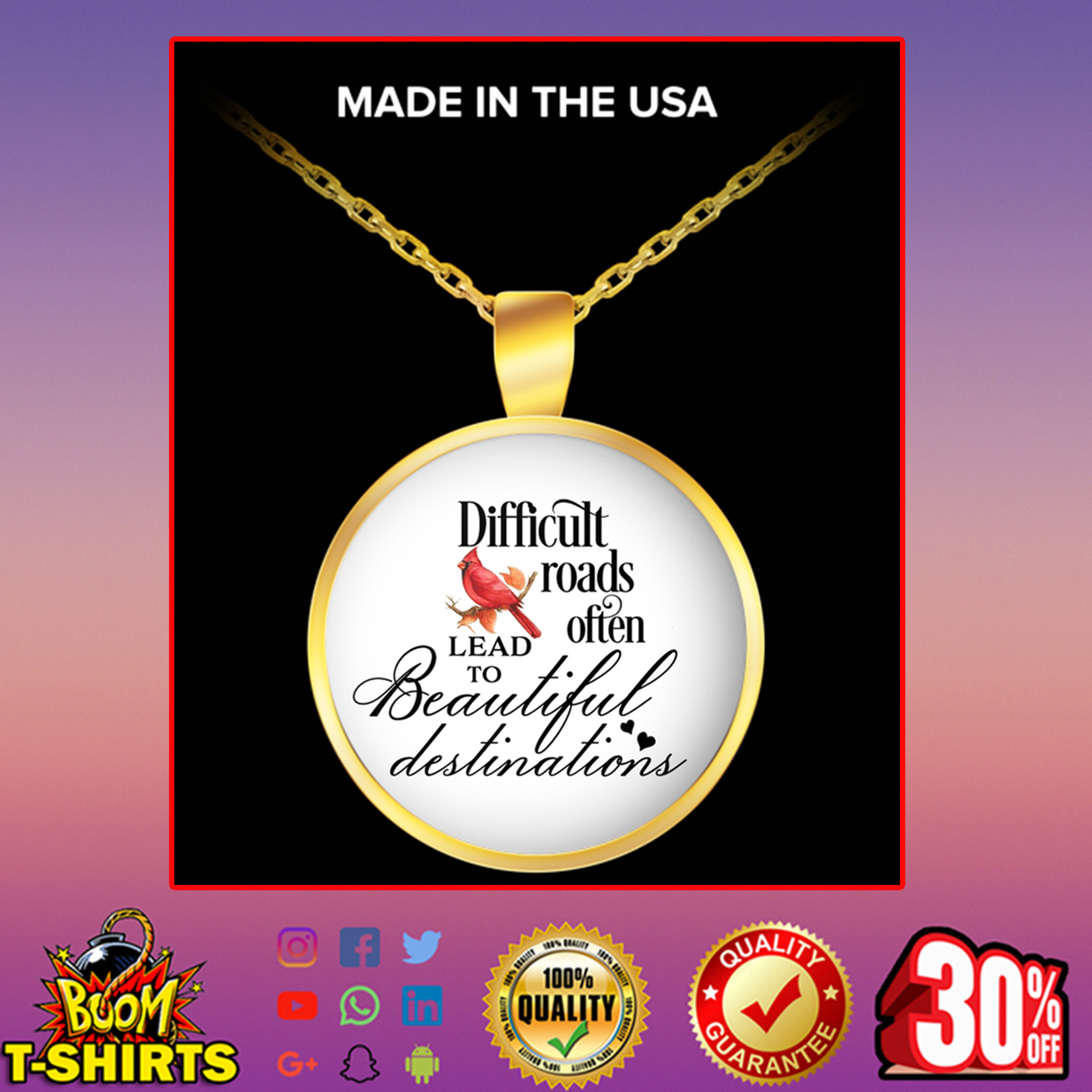 Cardinal Bird difficult roads often lead to beautiful destinations round pendant necklace - gold plated