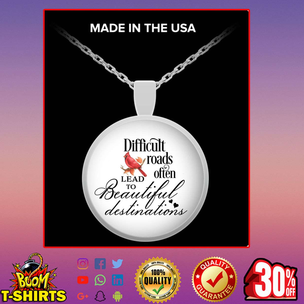 Cardinal Bird difficult roads often lead to beautiful destinations round pendant necklace - silver plated