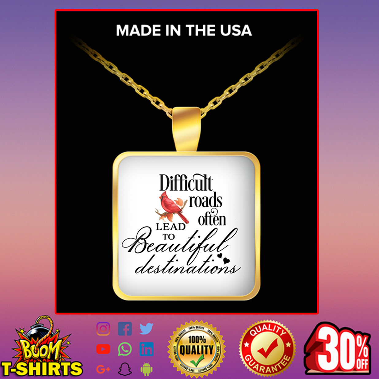 Cardinal Bird difficult roads often lead to beautiful destinations square pendant necklace - gold plated