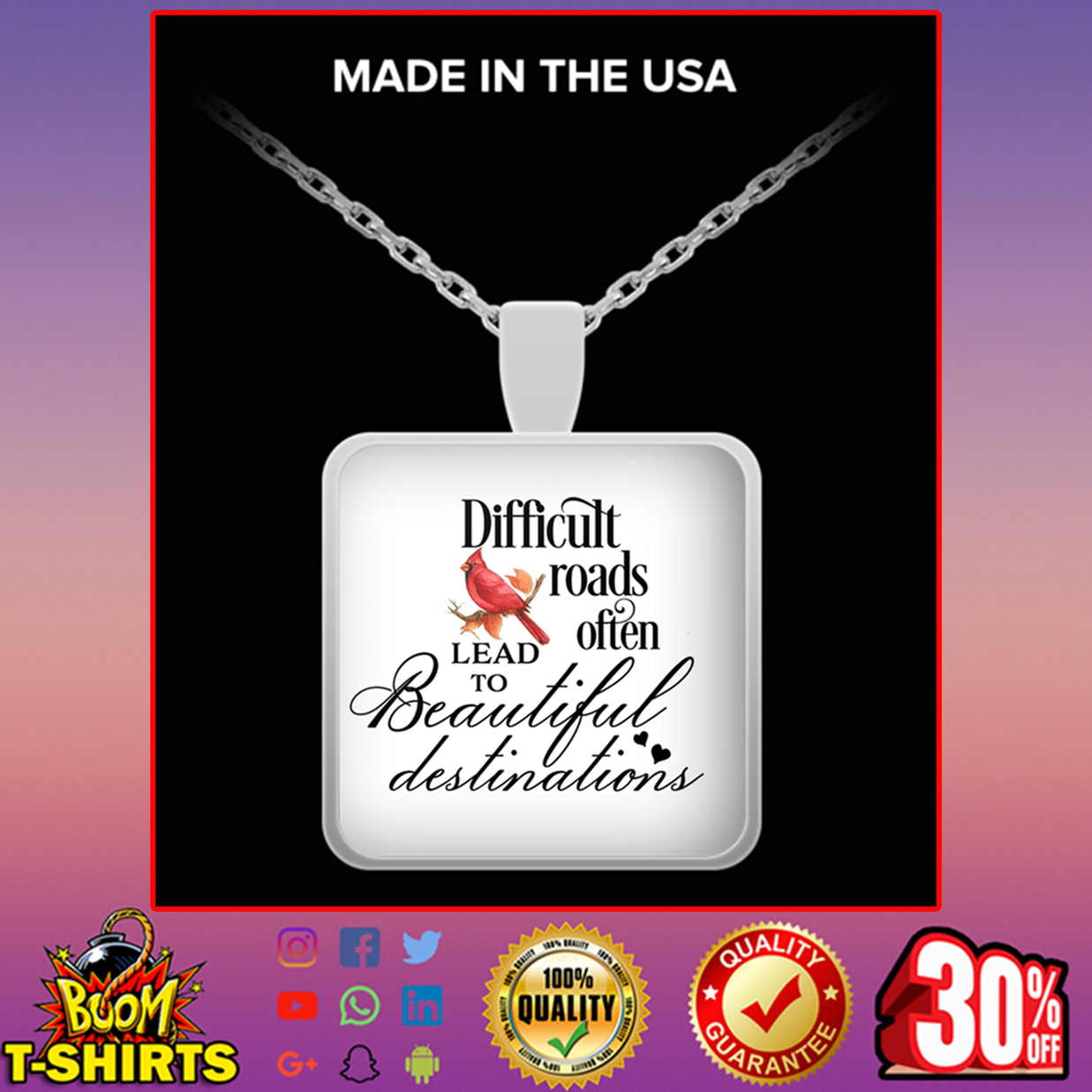 Cardinal Bird difficult roads often lead to beautiful destinations square pendat necklace - silver plated