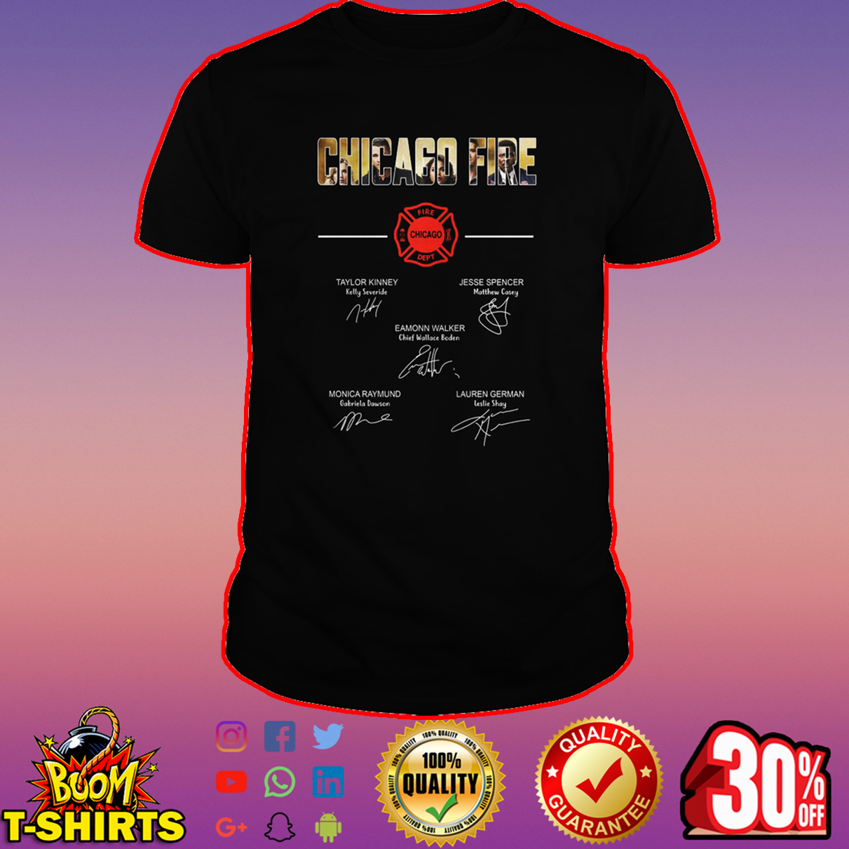 Chicago fire all actor signature shirt