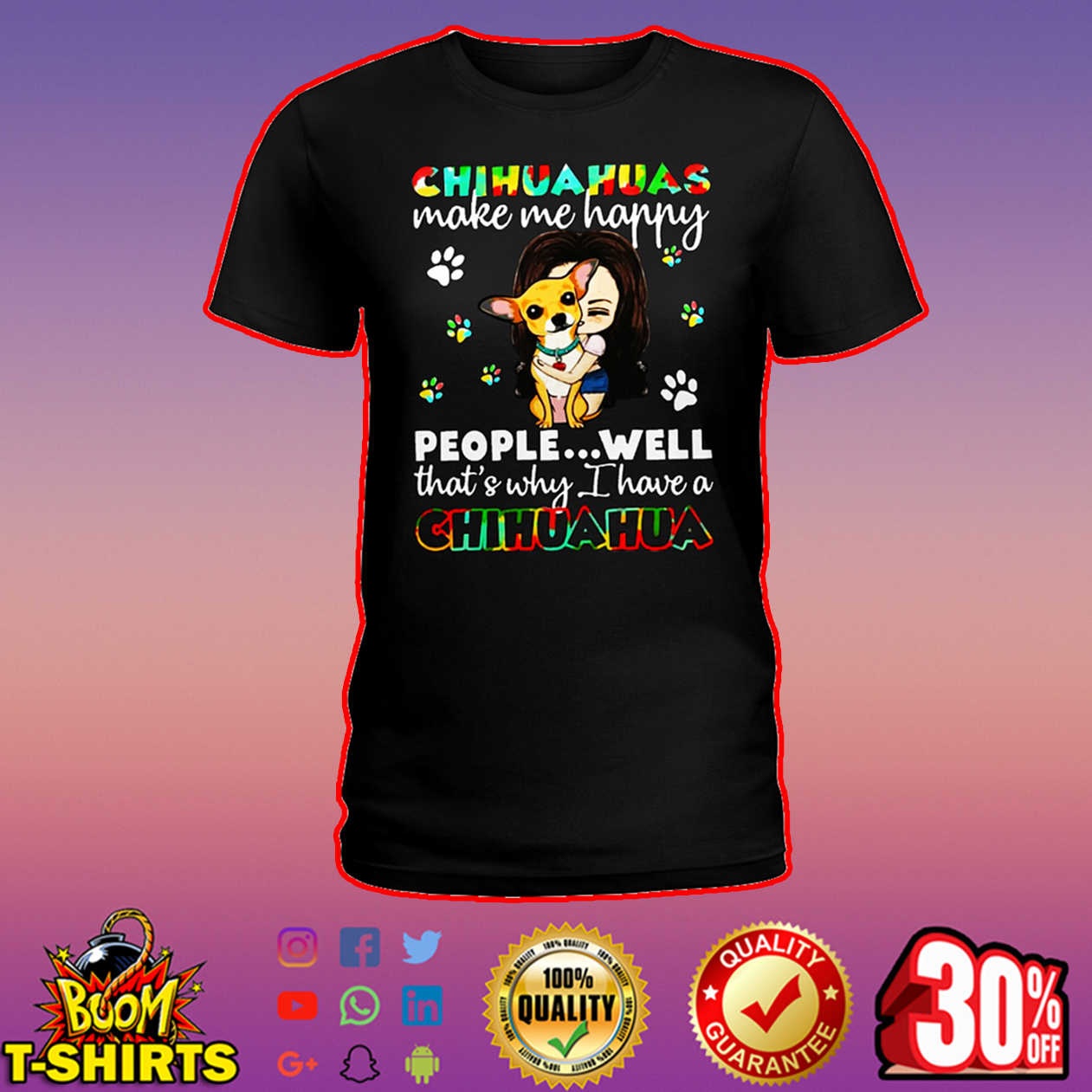 Chihuahuas make me happy people well that's why I have a Chihuahua shirt