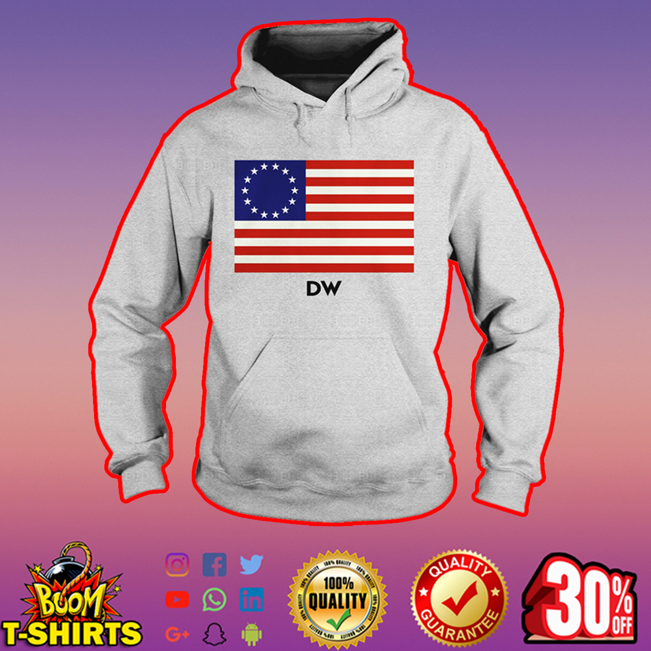 DW Betsy Ross flag hoodie