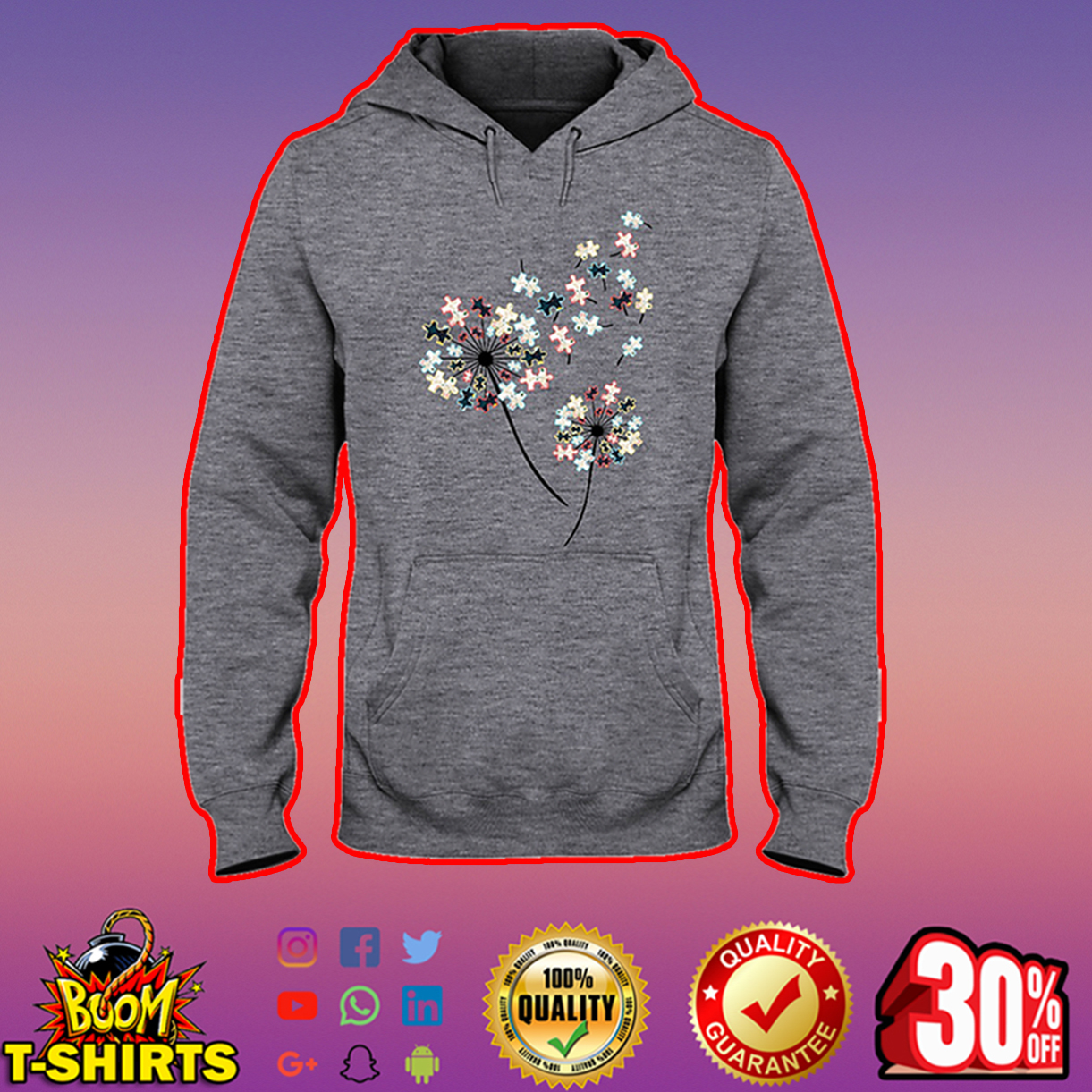 Dandelion Puzzle Autism Awareness hooded sweatshirt
