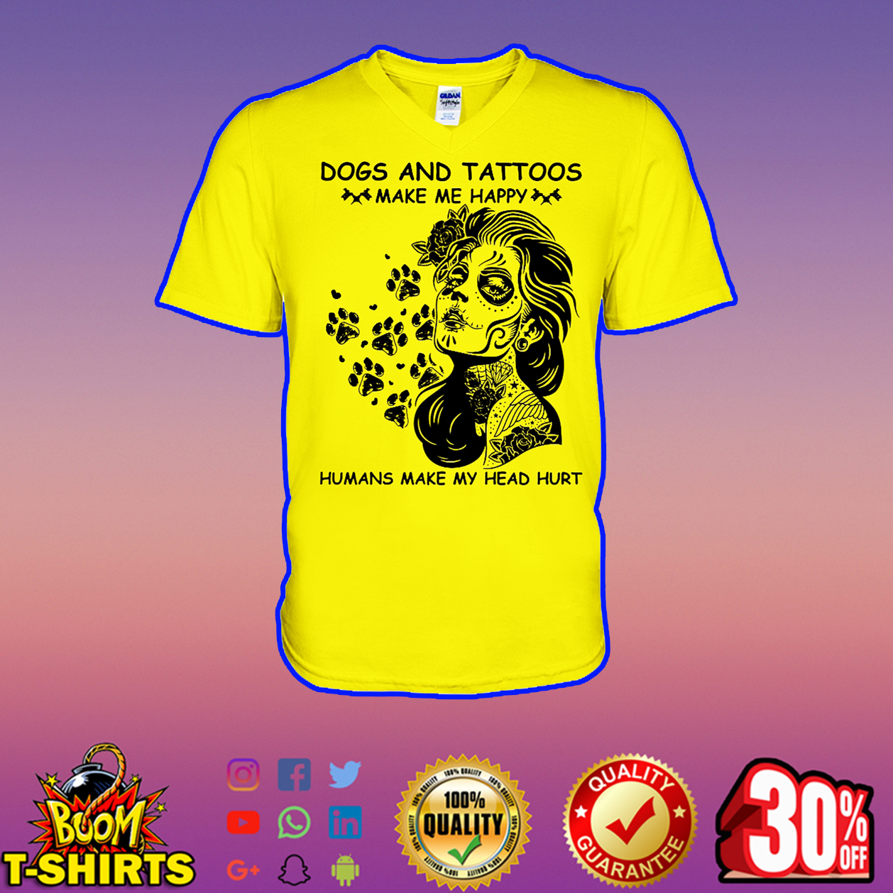 Dogs and Tattoos make me happy humans make my head hurt v-neck