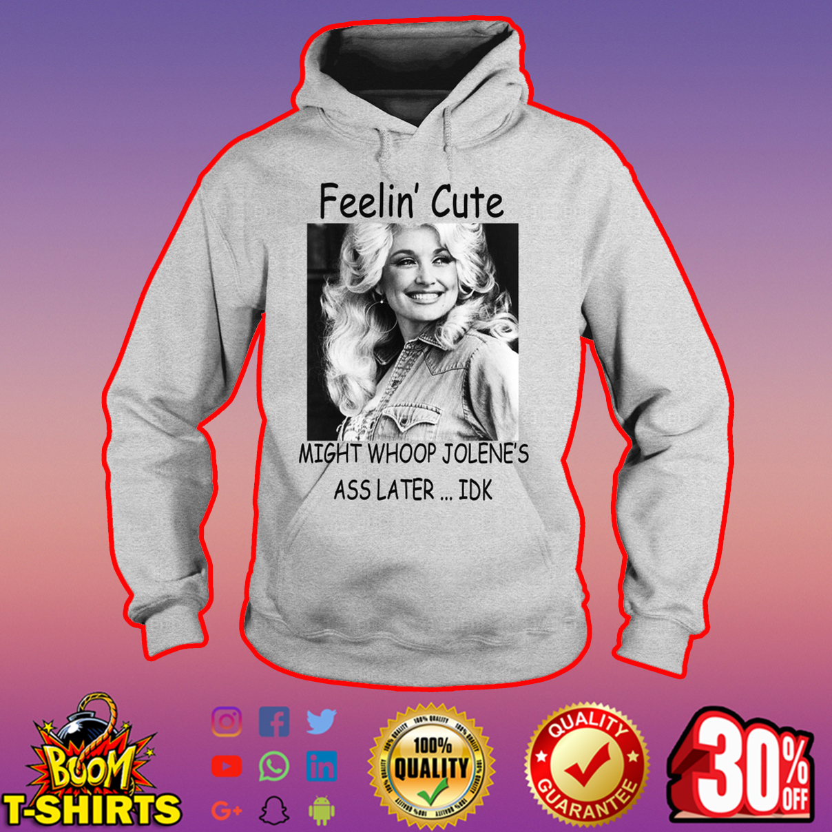 Dolly Parton Feelin' cute might whoop jolene's ass later IDK hoodie