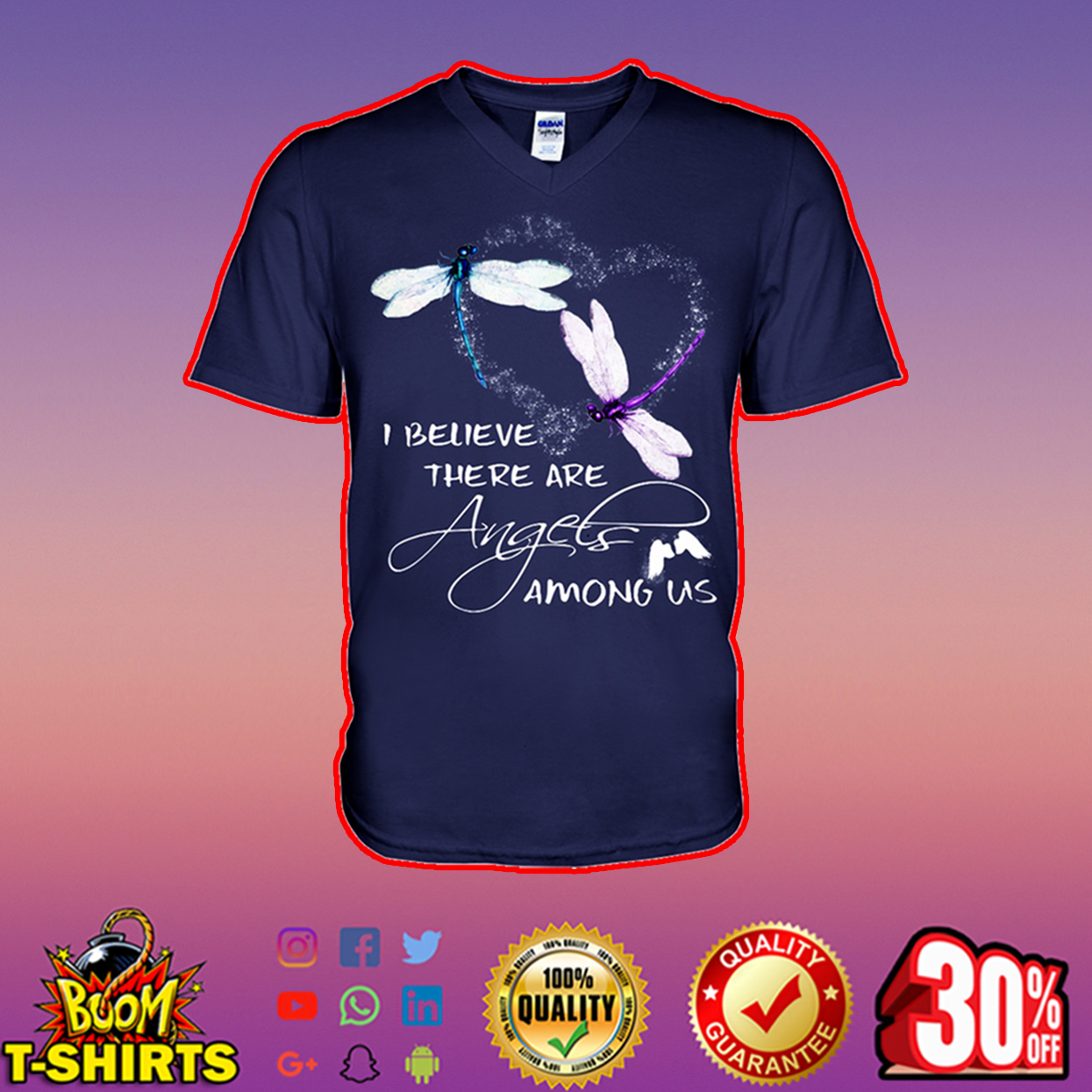 Dragonfly I believe there are angels among us v-neck