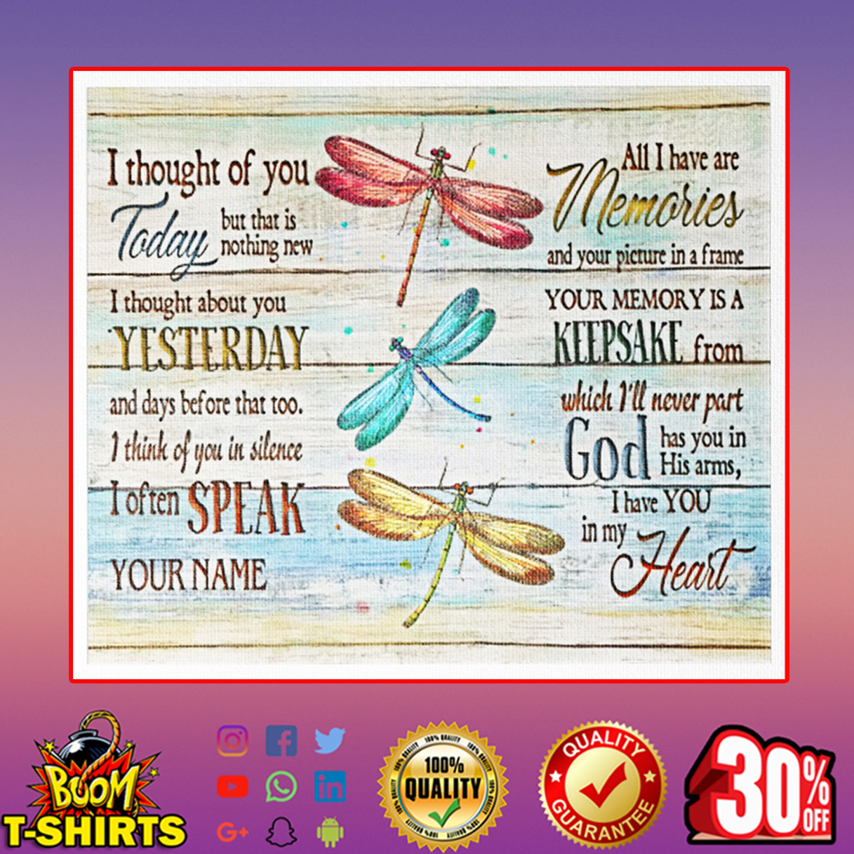 Dragonfly I thought of you canvas