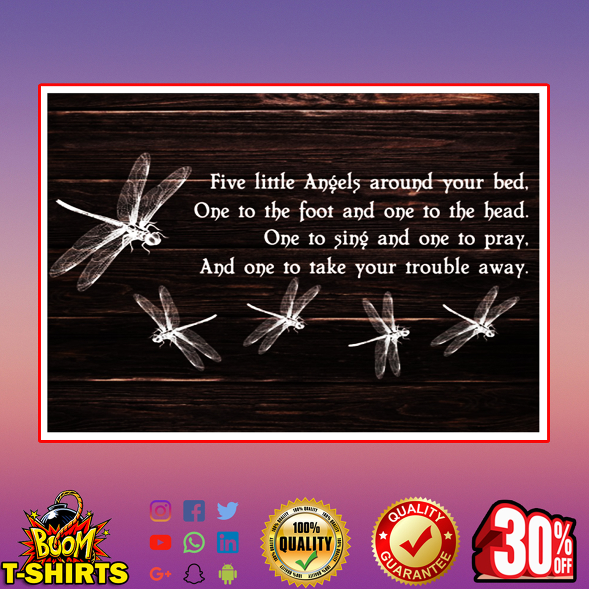 Dragonfly five little angels around your bed poster 24x16