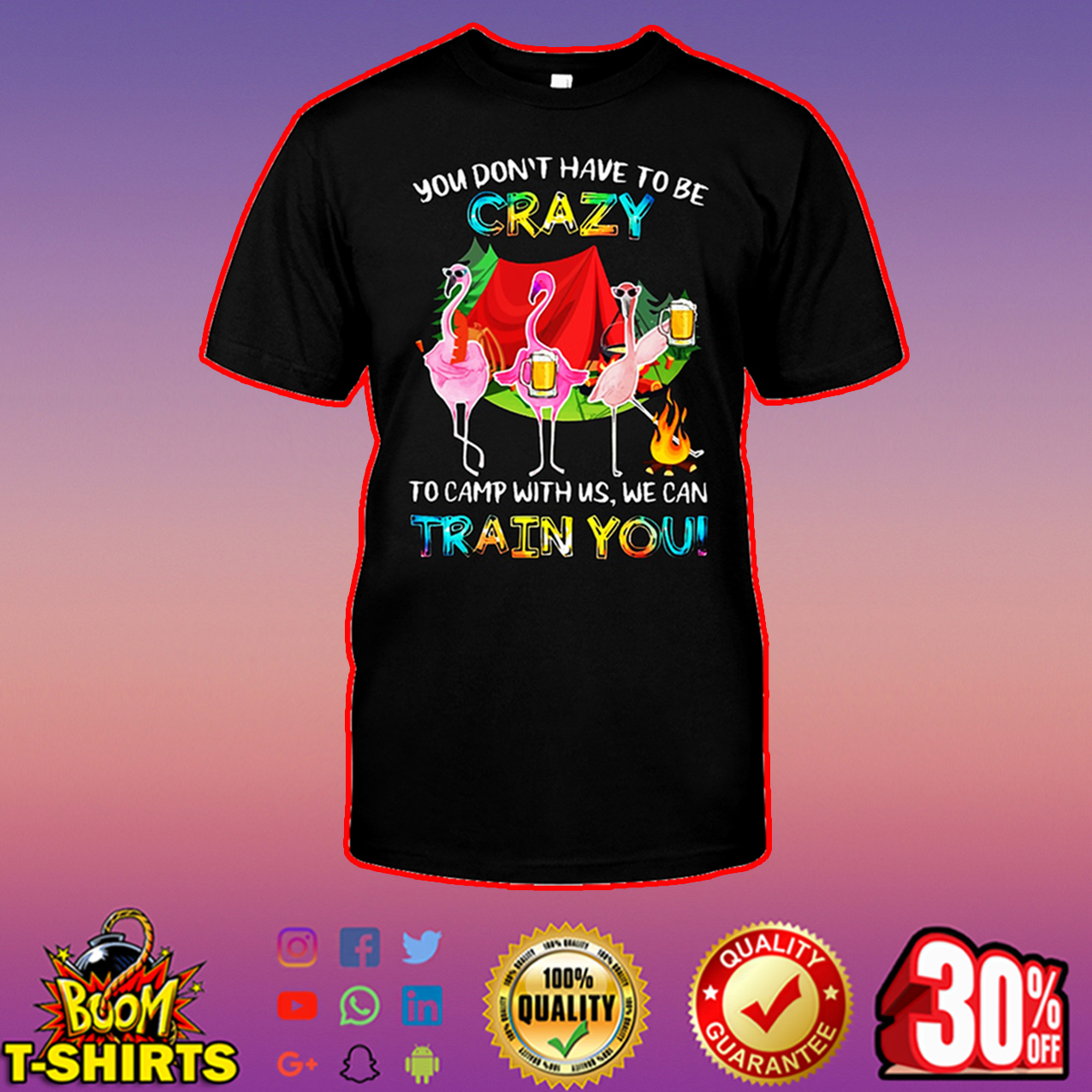 Flamingo you don't have to be crazy to camp with us we can train you shirt