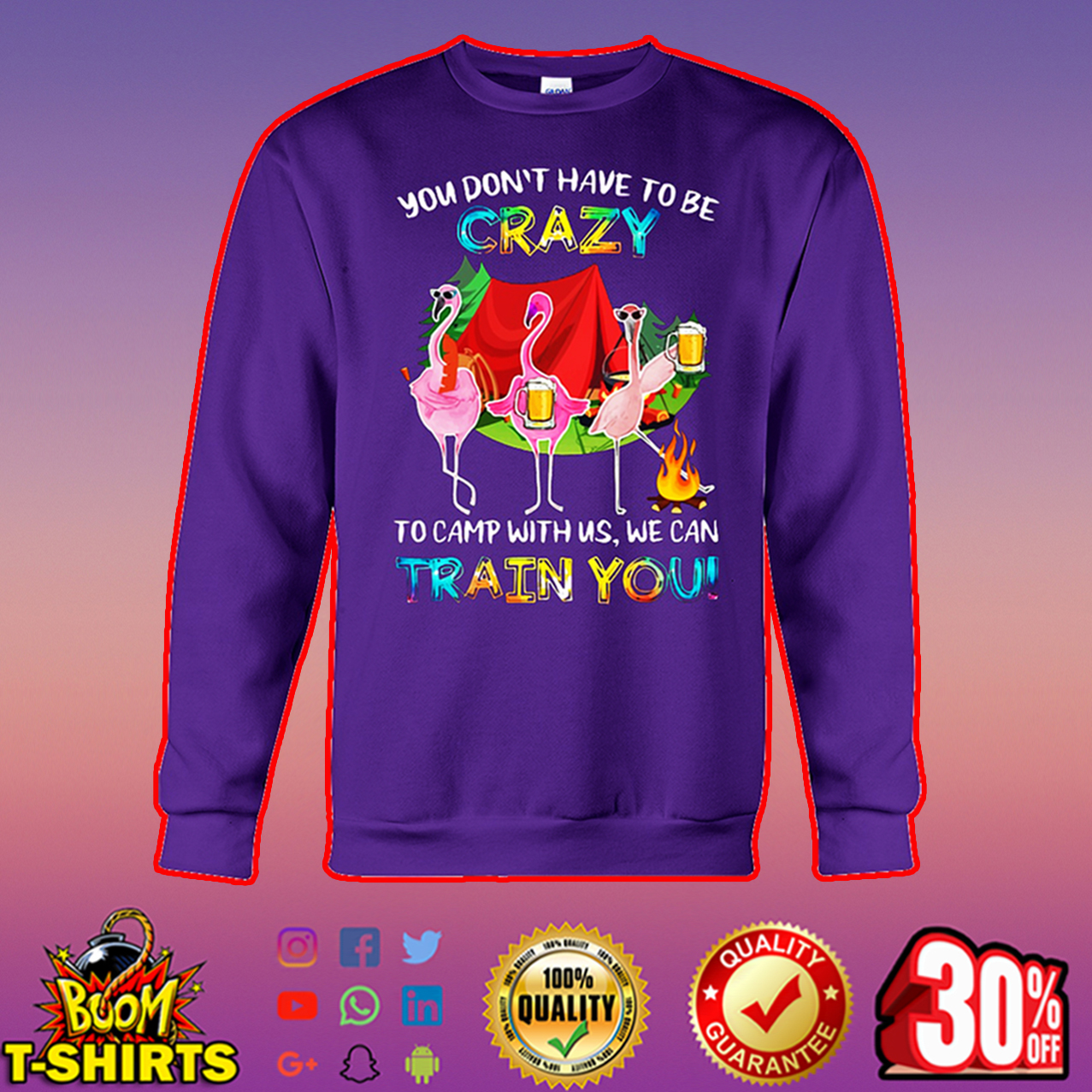 Flamingo you don't have to be crazy to camp with us we can train you sweatshirt
