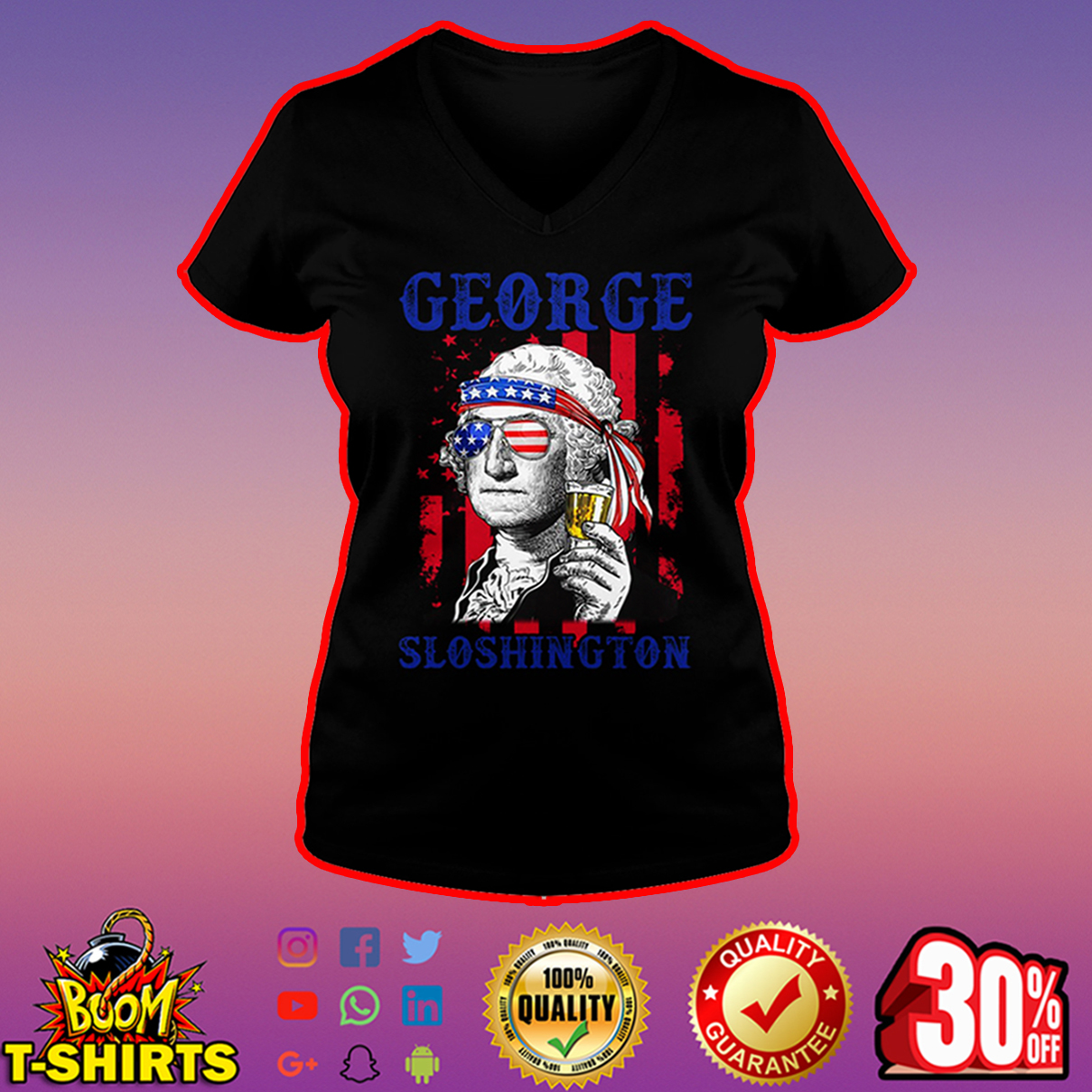 George Sloshington 4th of July v-neck