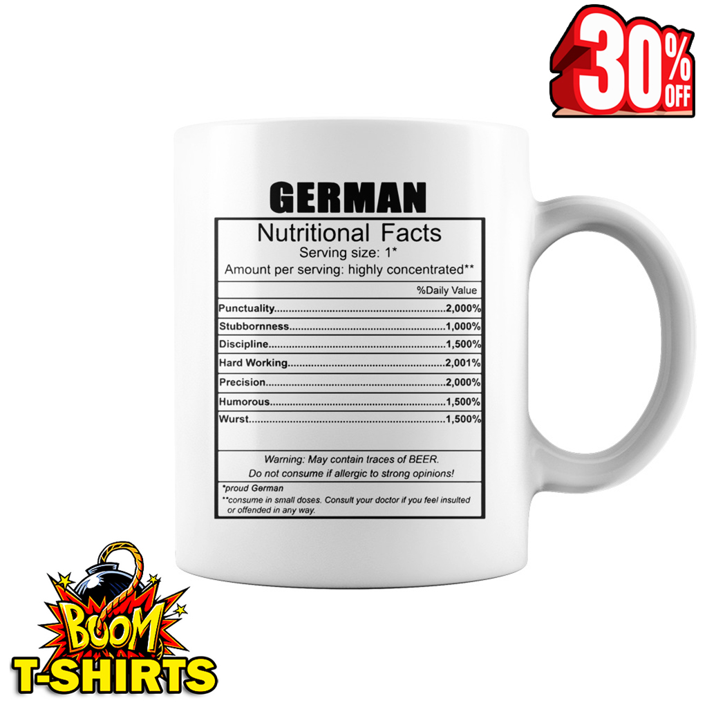 German nutritional facts mug - white