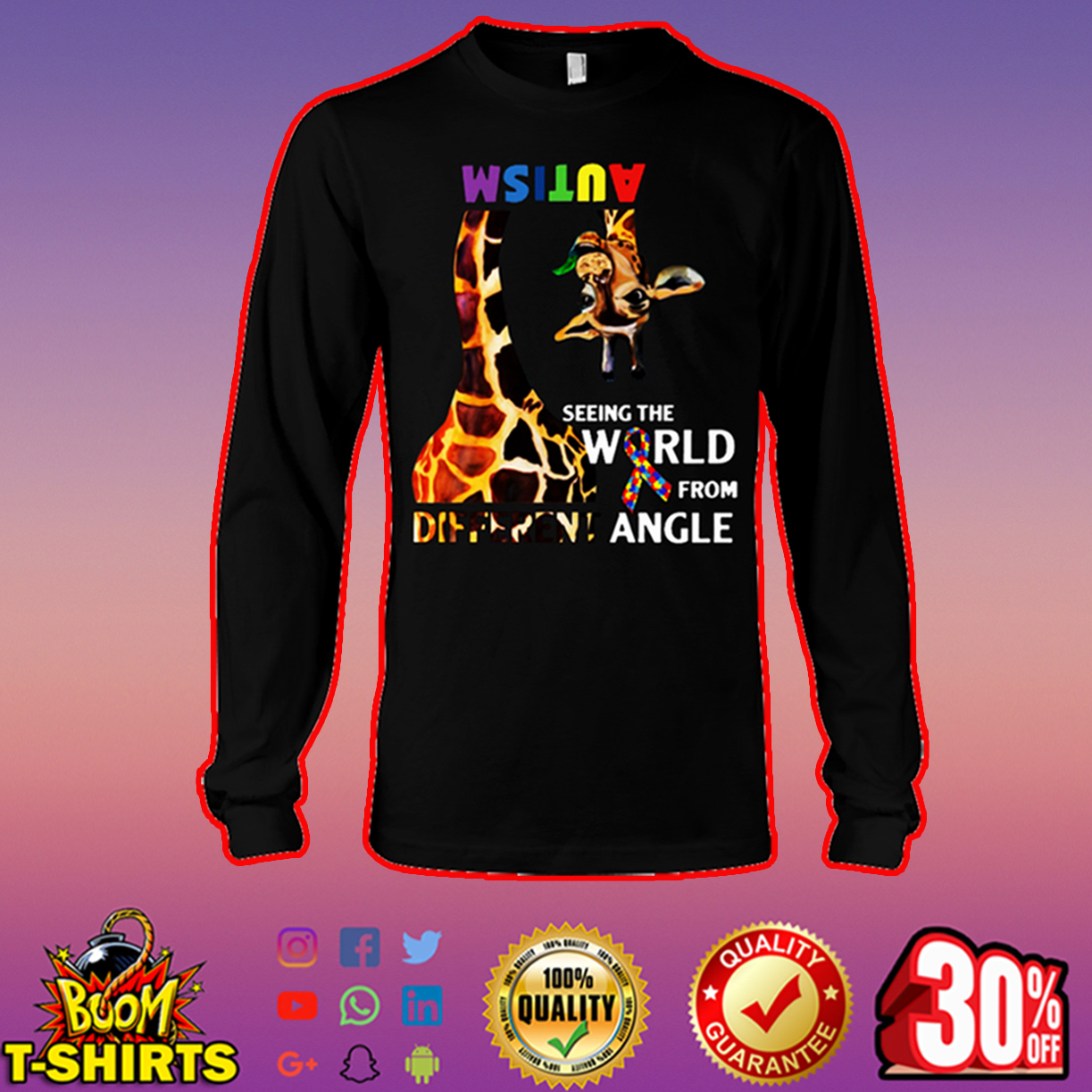 Giraffe autism seeing the world from different angle long sleeve tee
